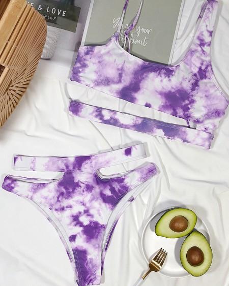 Tie Dye Print Cutout Bikini Set