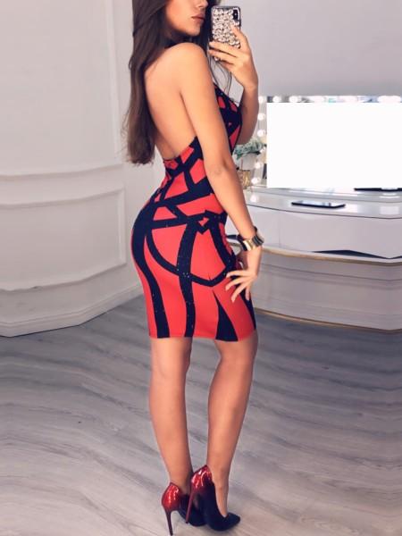 Studded Colorblock Halter Bodycon Dress