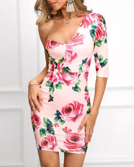 One Sleeve Floral Print Bodycon Dress
