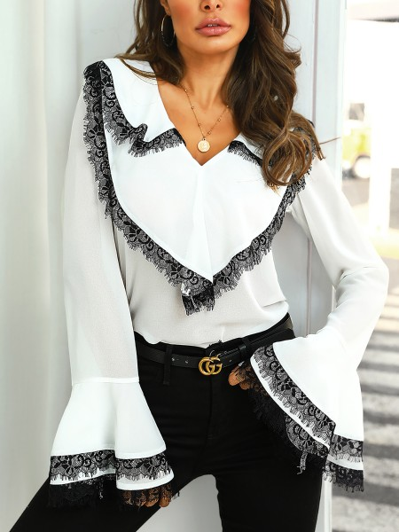 Contrast Eyelash Lace Bell Sleeve Blouse