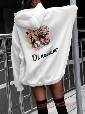 Stylish Tiger Letter Print Hoodie Sweatshirt