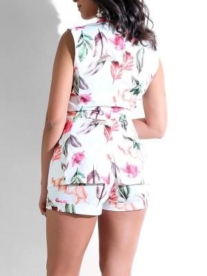 Floral Plunge Sleeveless Blazer Set