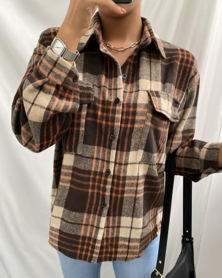 Plaid Pocket Design Long Sleeve Shirt