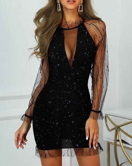 Glitter Sheer Mesh Frill Party Dress