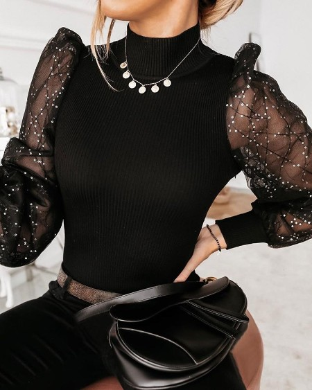 Sequin Mesh Patchwork Ribbed Sweater