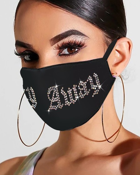 Letter Pattern Studded Breathable Ear Loop Mouth Mask