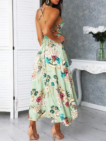 Crisscross Back Dip Hem Floral Print Dress
