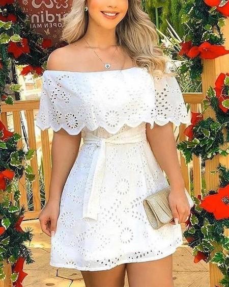 Off Shoulder  Broderie Lace Mini Dress