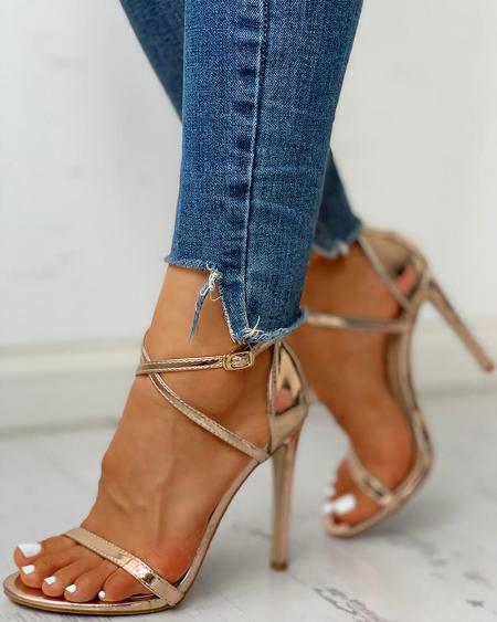 boutiquefeel / Glitter Multi-strap Ankle Buckled Thin Heeled Sandals