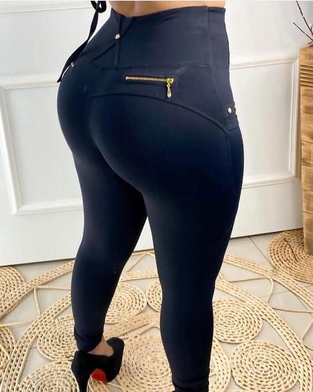 High Waist Zipper Design Buttoned Casual Pants