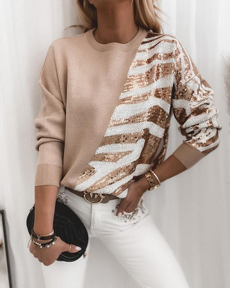 Colorblock Glitter Long Sleeve Loose Sweater
