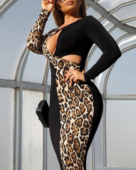 Leopard Patchwork Cut Out Chest Bodycon Dress