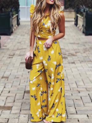 Floral Print Frills Tie Back Top With Wide Leg Pant Sets