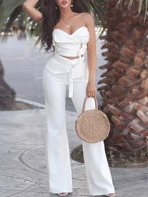 Zipper Strapless Crop Top & Belted Wide Leg Pants Set