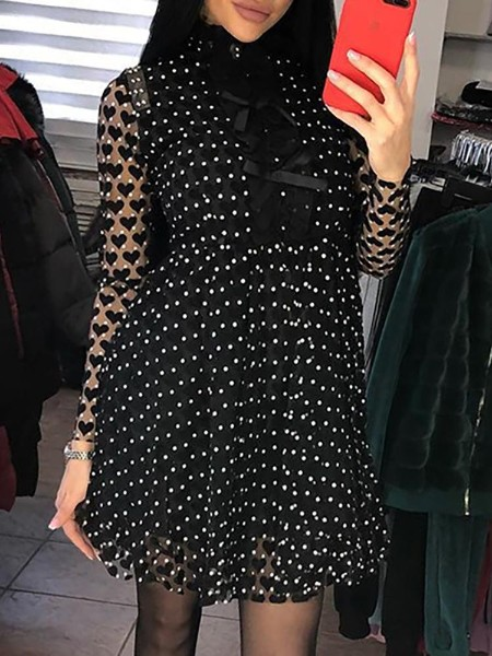 Dot & Heart Print Bowknot Detail Mesh Dress