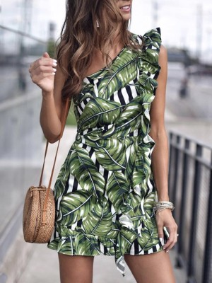 Leaf Print Ruffles One Shoulder Mini Dress
