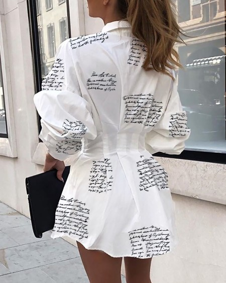Letter Print Tight Waist Shirt Dress