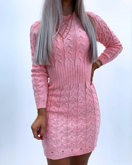 boutiquefeel / Solid Color Long Sleeve Skinny Waist Sweater Mini Dress