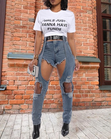 Denim Cut Out Casual Pants