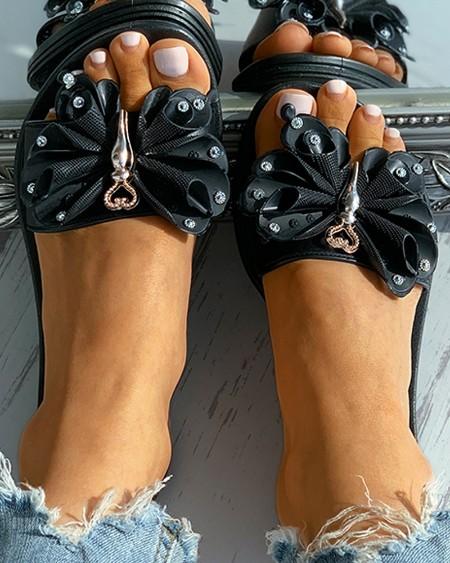 Butterfly Heart Pattern Studded Flat Sandals
