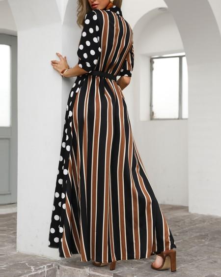 8dcf8d8babc ... Dots   Stripes Plunge Slit Maxi Dress