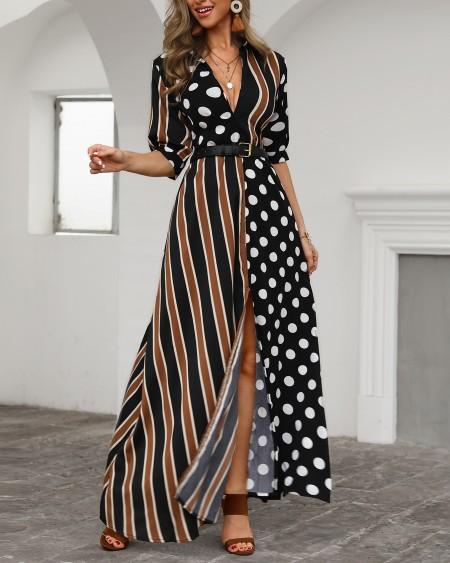 Dots & Stripes Plunge Slit Maxi Dress
