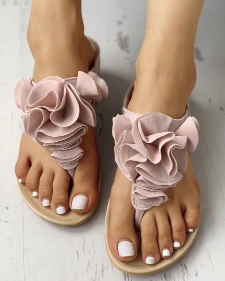 2114aa2bf46 Ruched Flower Embellished Toe Post Flat Sandals ...