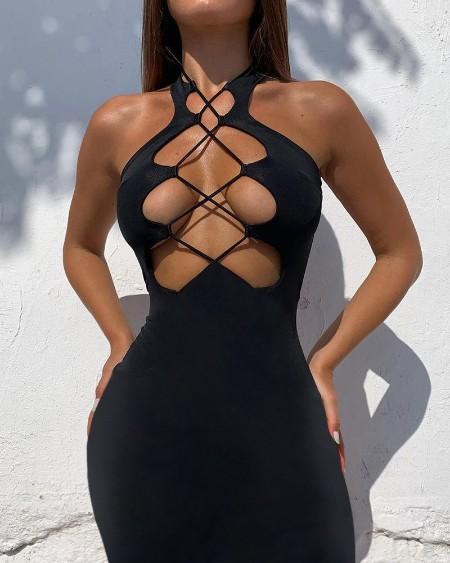 Plain Halter Lace Up Sleeveless Bodycon Dress