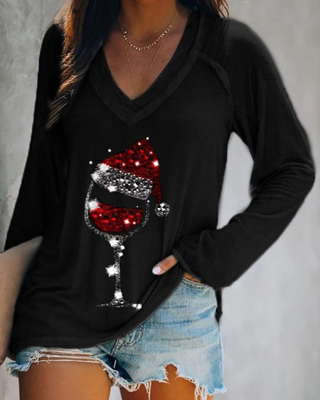 Christmas Wine Glass Print Casual Sweatshirt