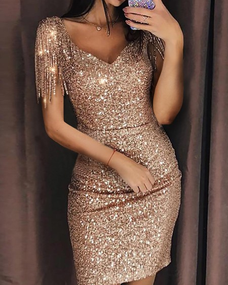 Tassel Short Sleeves Sweetheart Neck Sequins Dress