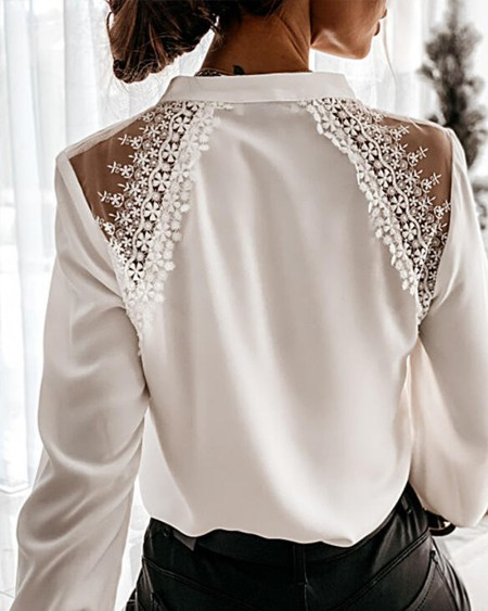 Solid Color Splicing Lace Long Sleeve Shirt