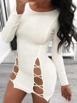 Stylish Crew Neck Hollow Out Mini Dress