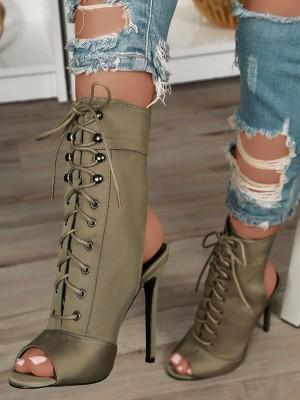 Stylish Lace-up Open Toe High-heeled Boots
