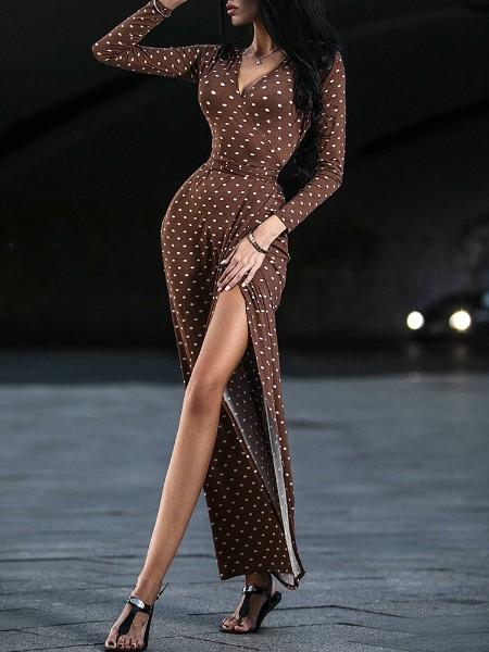Dots Print Slit Wrapped Bodycon Dress