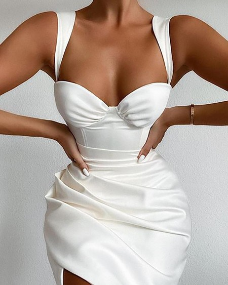 Plain Ruched Slit Thick Strap Bodycon Dress