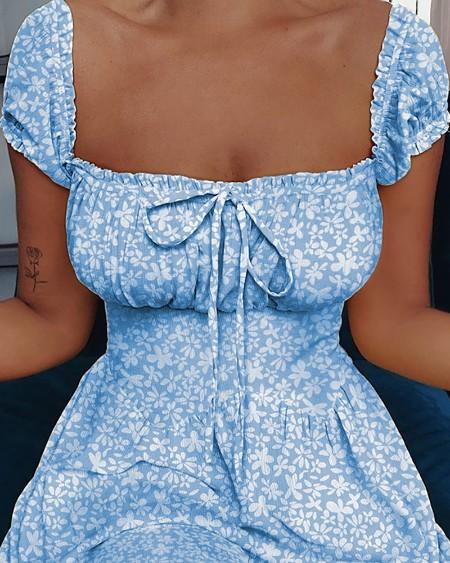 Square Neck Tie Detail Floral Print Dress