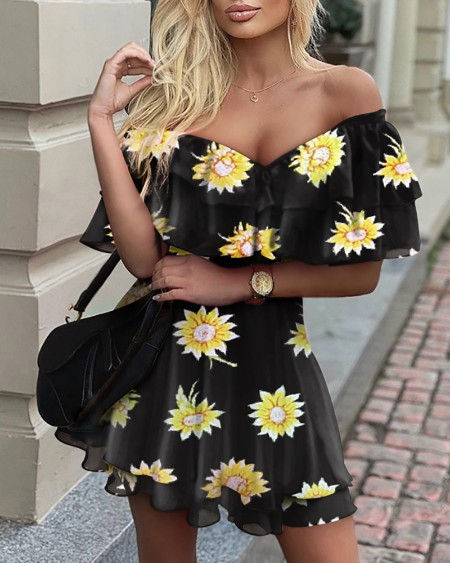 Off Shoulder Sunflower Print Ruffles Skater Dress