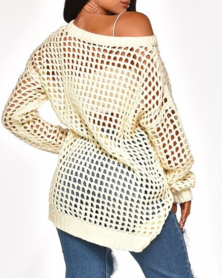 Solid Long Sleeve Hollow Out Sweater