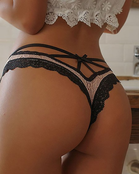 Bowknot Design Lace Trim Panty