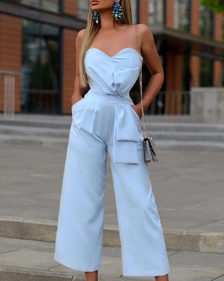 Solid Bowknot Design Pocket Jumpsuit