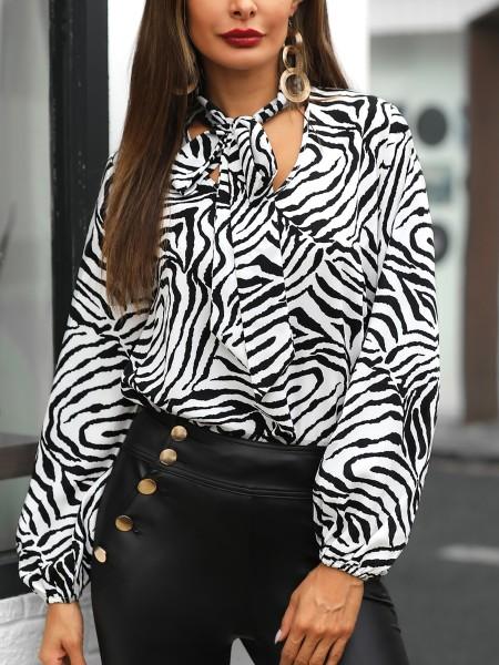 Tied Neck Zebra Print Long Sleeve Blouse