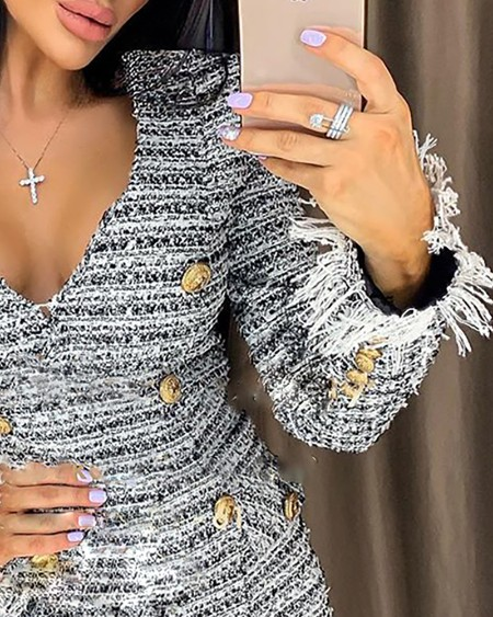Tweed Buttoned Long Sleeve Dress