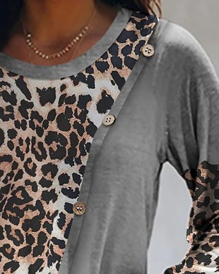 Cheetah Print Colorblock Buttoned Top
