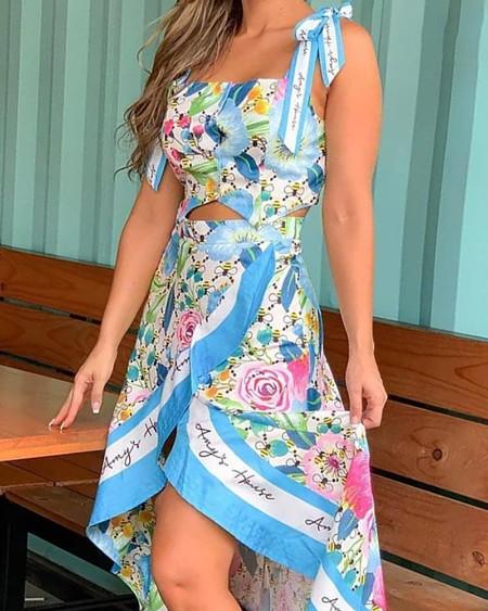 Floral Print Tied Detail Top & Slit Skirt Set
