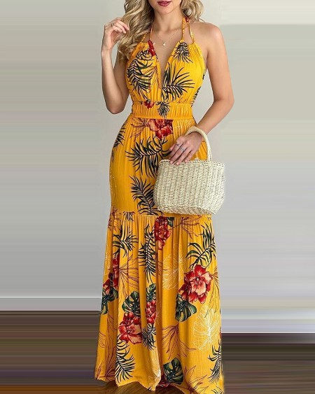 Tropical Print Halter Backless Maxi Dress
