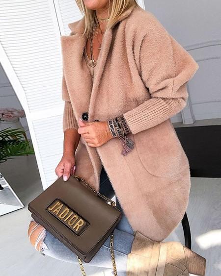 Warm Khaki Solid Fluffy Open Front Long Coat