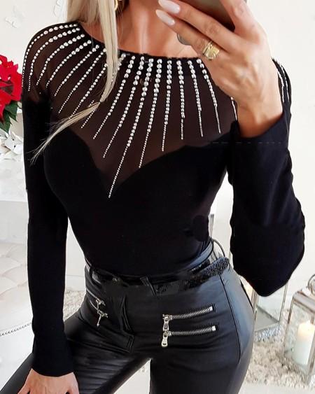 Embellished Mesh Insert Long Sleeve Top