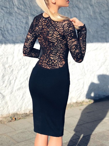 Lace Insert Back Long Sleeve Bodycon Dress