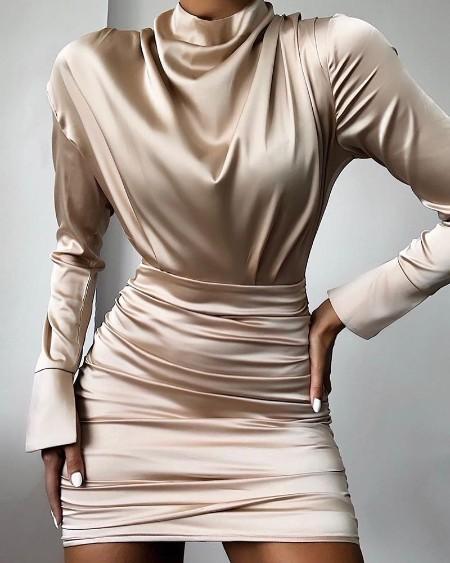 High Neck Ruched Satin Dress
