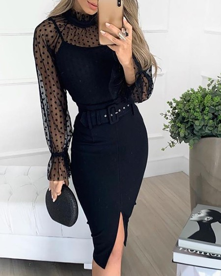 Dot Mesh Insert Bell Cuff Bodycon Dress